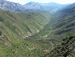 View looking down the Gamkaskloof valley.