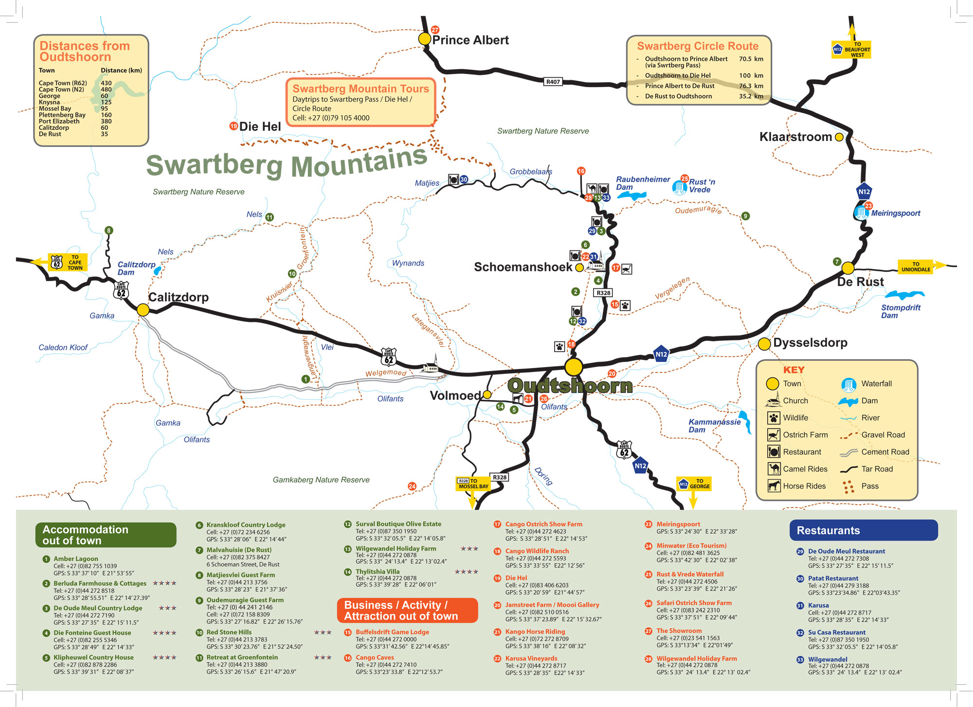 Map Of Route 62 South Africa.Oudtshoorn Accommodation Oudtshoorn Info Route 62